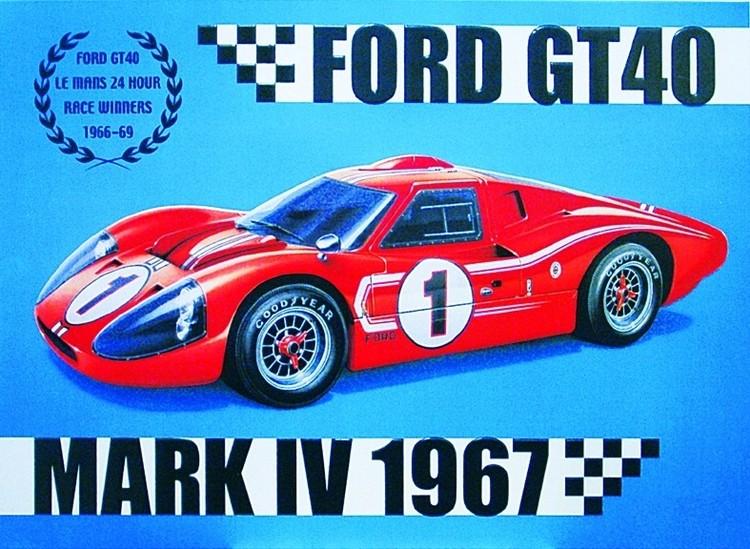 FORD GT40 Plaque métal décorée