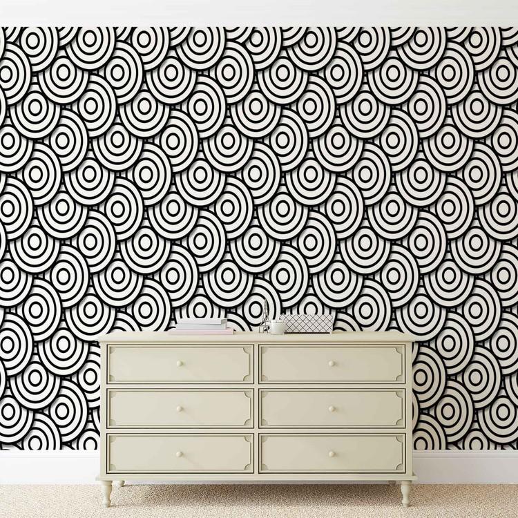Abstract Modern Circle  Black White Fotobehang