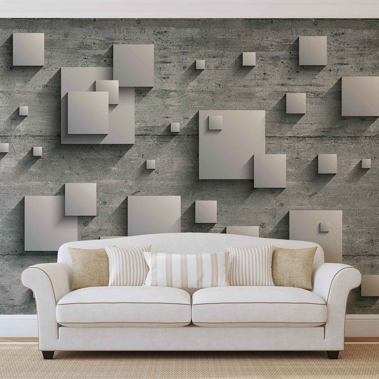 Abstract Modern Grey Silver Fotobehang