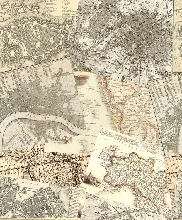 Antieke kaarten Fotobehang
