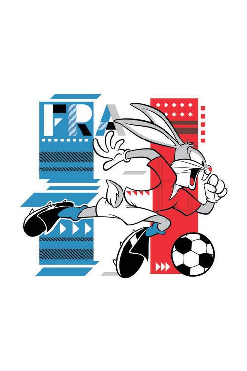Bunny and football Fotobehang