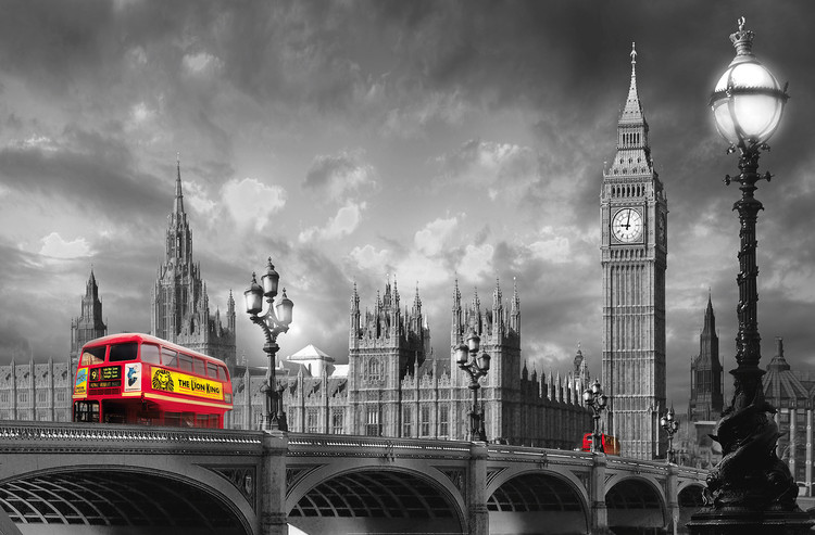 BUS ON WESTMINSTER BRIDGE Fotobehang