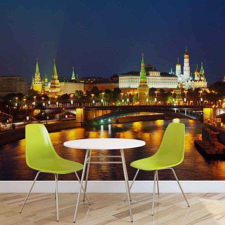 City Moscow River Bridge Skyline Night Fotobehang