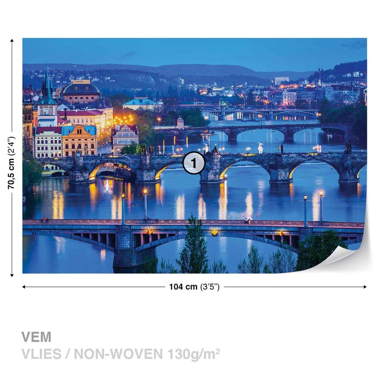 City Prague River Bridges Fotobehang