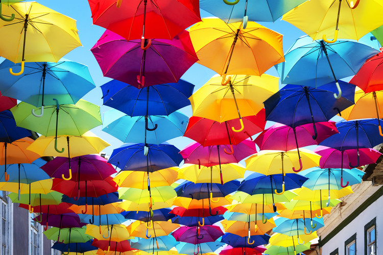 Colourful Umbrellas Fotobehang