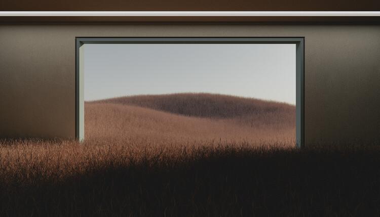 Dark room in the middle of brown cereal field series  1 Fotobehang