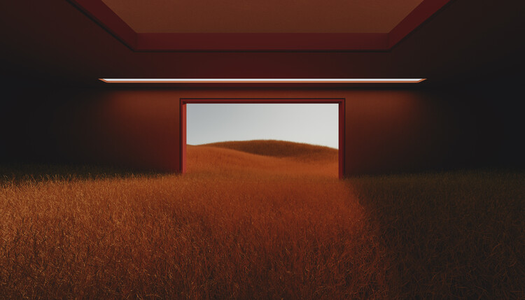 Dark room in the middle of red cereal field series  3 Fotobehang