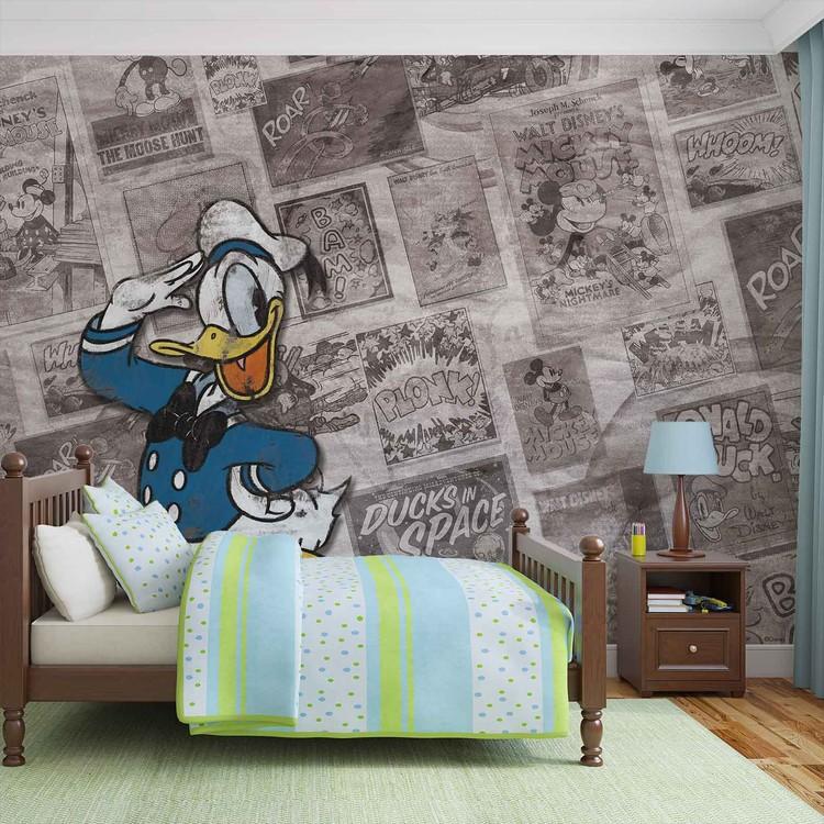 Disney Donal Duck Newsprint Vintage Fotobehang