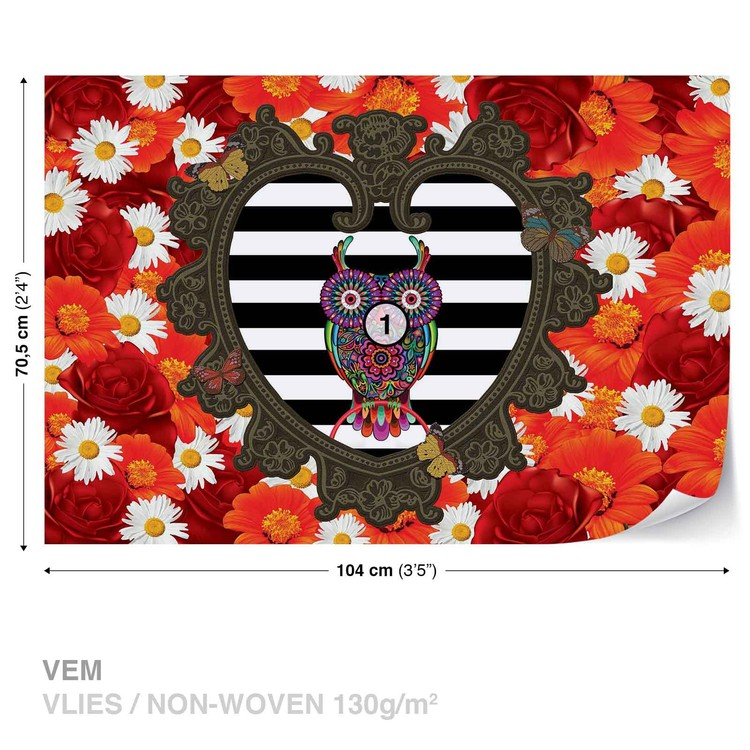 Floral Heart Owl Red Fotobehang