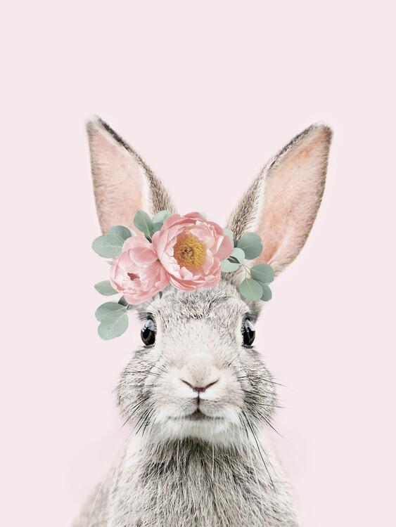 Flower crown bunny pink Fotobehang
