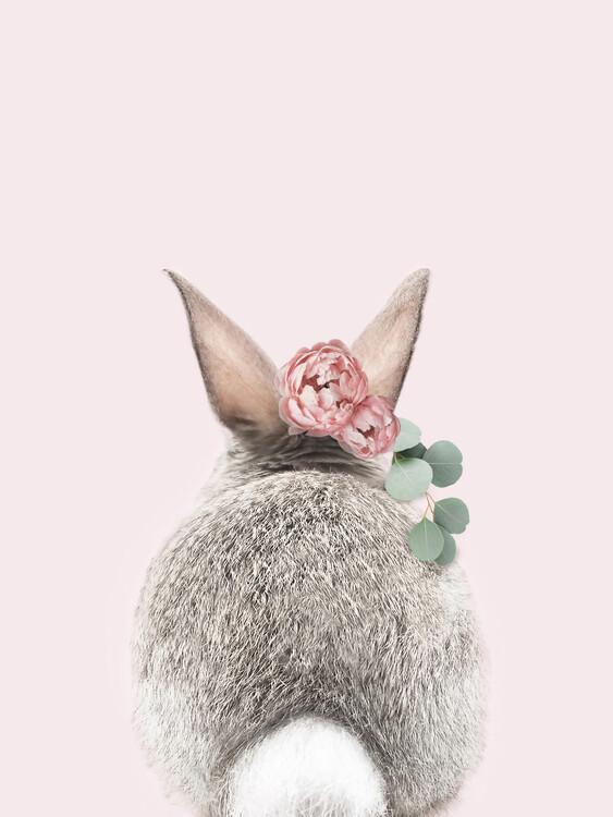 Flower crown bunny tail pink Fotobehang