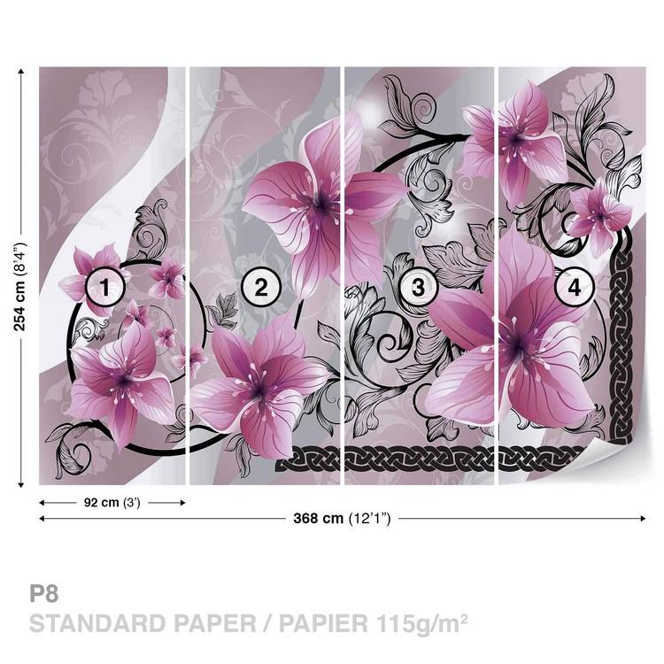 Flowers Floral Pattern Fotobehang, Behang - Bestel nu op