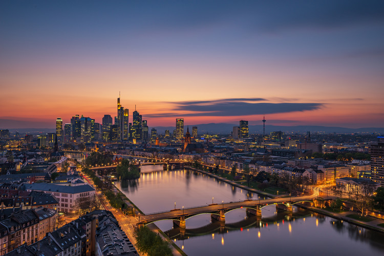 Frankfurt Skyline at sunset Fotobehang
