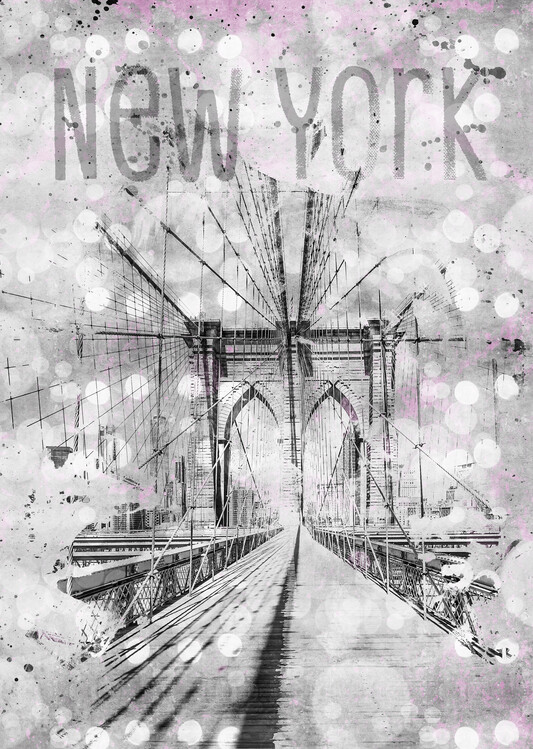 Graphic Art NEW YORK CITY Brooklyn Bridge Fotobehang