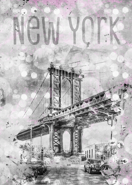 Graphic Art NEW YORK CITY Manhattan Bridge Fotobehang