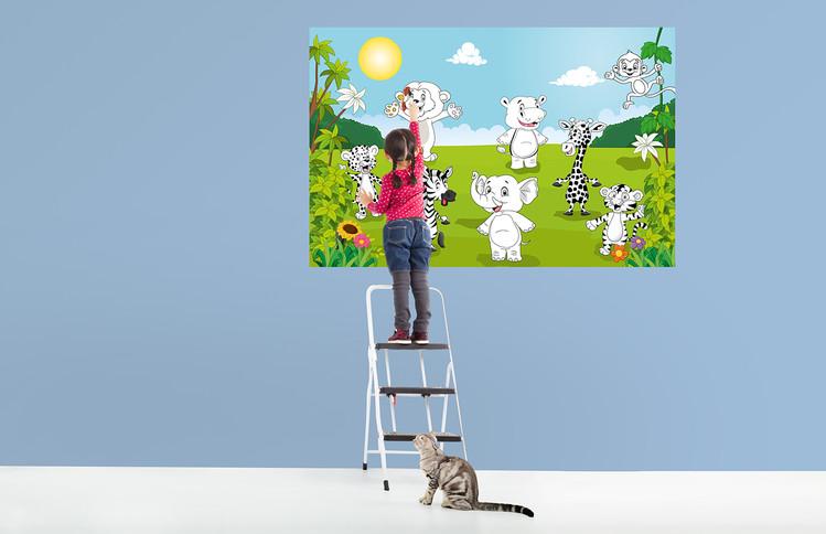 Happy Animals - COLOR IT YOURSELF Fotobehang