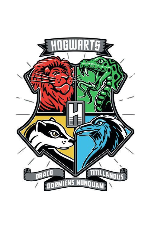 Harry Potter - Hogwarts houses Fotobehang
