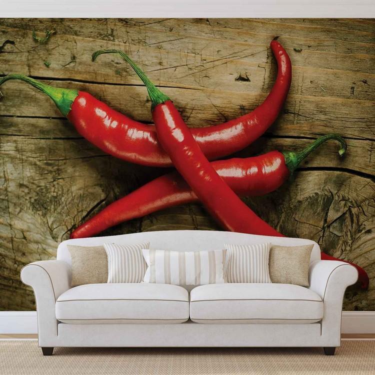 Hot Chillies Food Wood Fotobehang