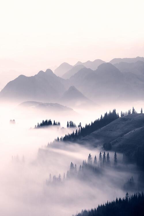 Misty mountains Fotobehang