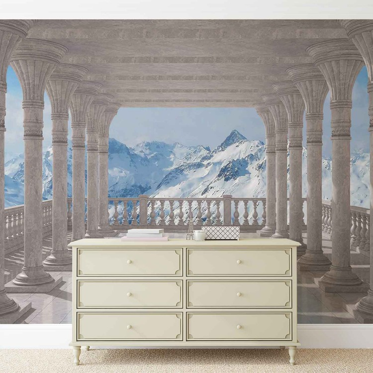 Mountain Scene Through The Arches Fotobehang