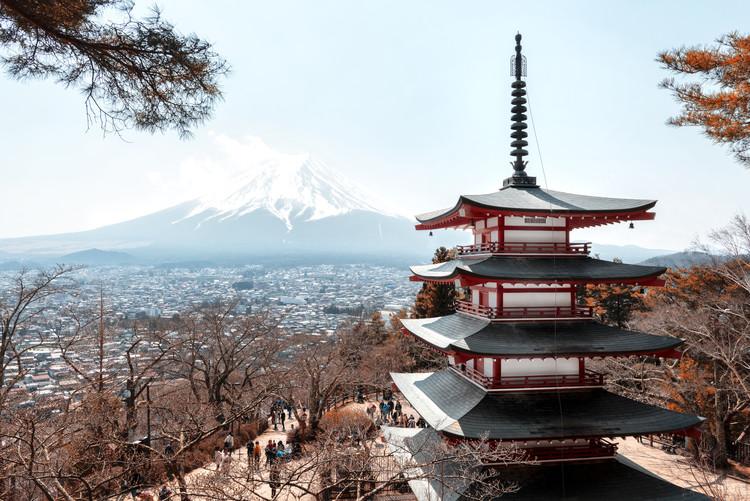 Mt. Fuji with Chureito Pagoda Fotobehang