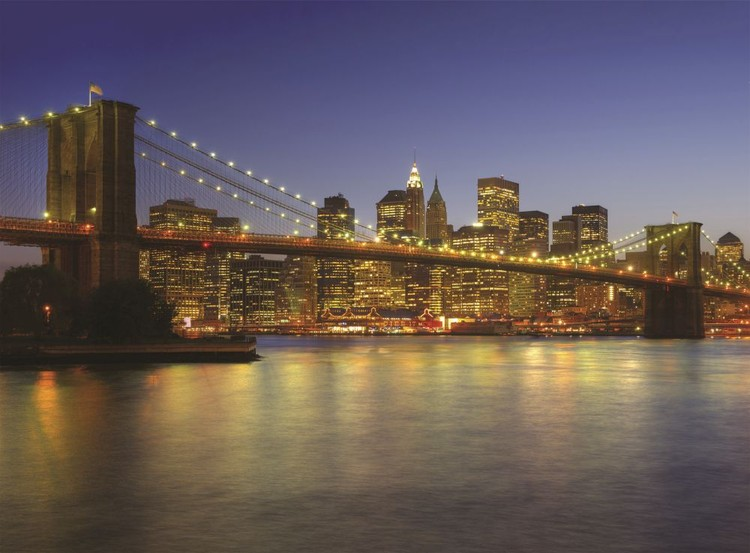 New York - Brooklyn Bridge at the dusk Fotobehang