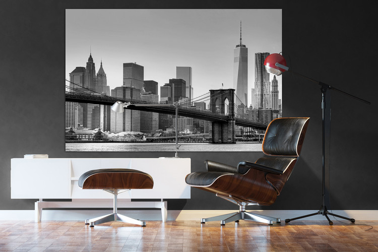 New York - Brooklyn Bridge (Zwart Wit) Fotobehang
