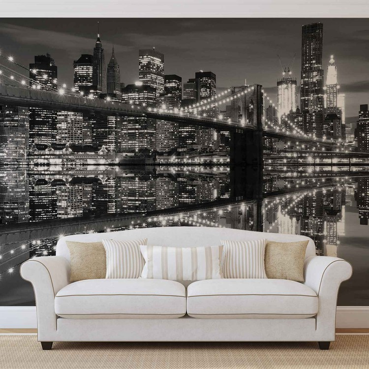 Foto Behang New York.New York City Skyline Brooklyn Bridge Fotobehang Behang Bestel Nu