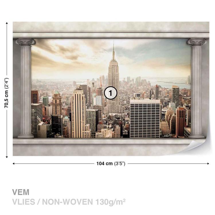 New York City View Pillars Fotobehang