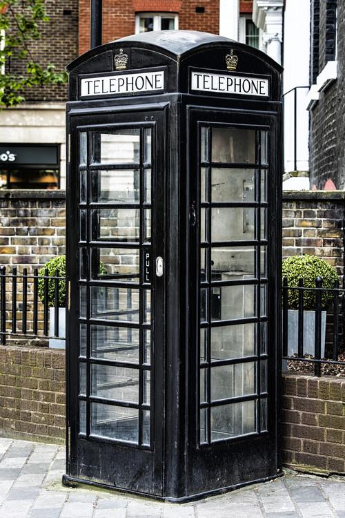 Old Black Telephone Booth Fotobehang