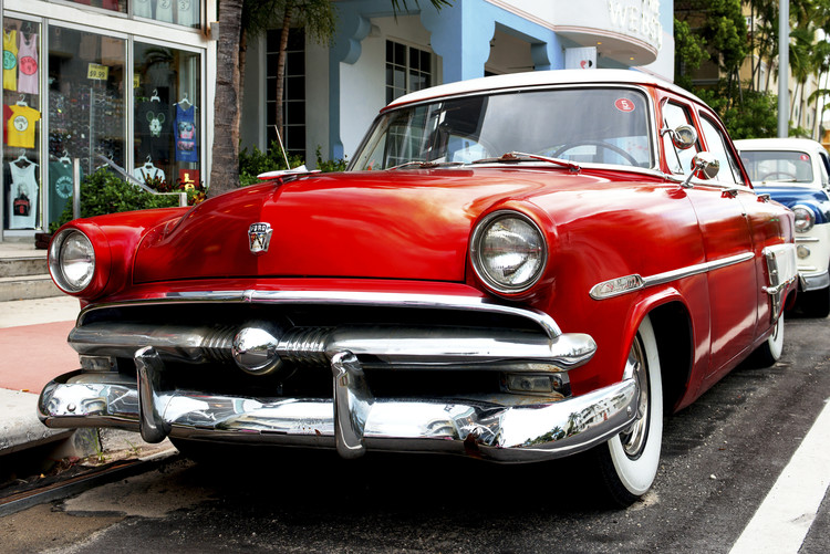 Red Classic Ford Fotobehang