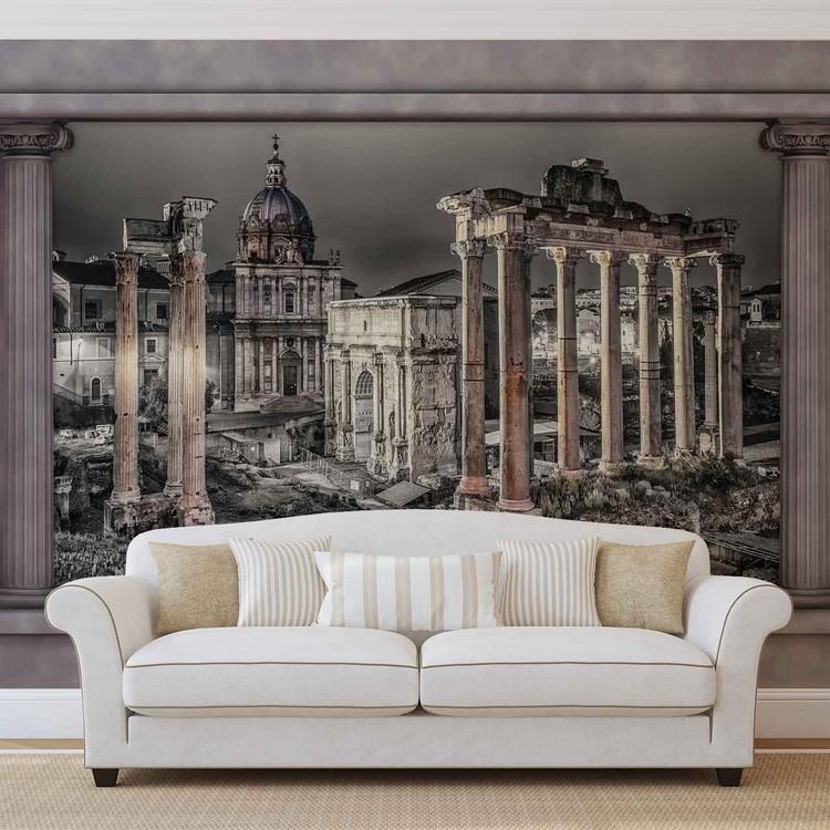 Rome City Ruins Window View Fotobehang