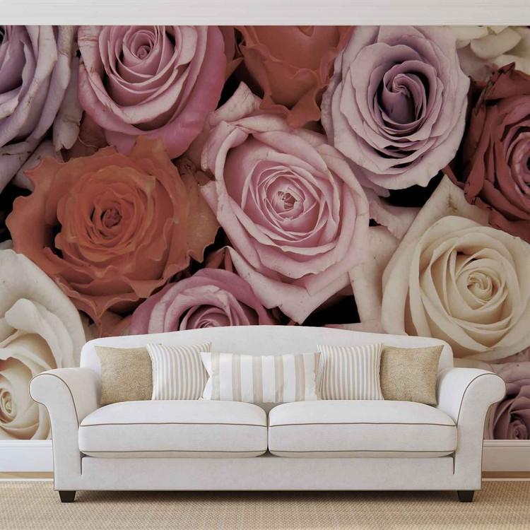 Roses Flowers Pink Purple Red Fotobehang