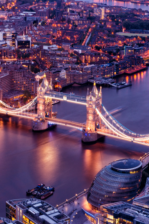 View of City of London with the Tower Bridge at Night Fotobehang