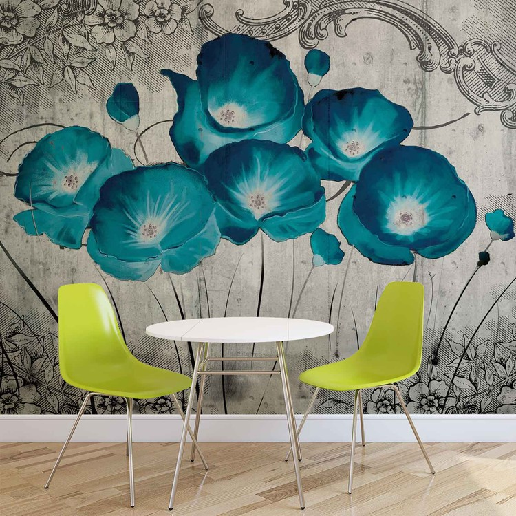 Vintage Flowers Blue Grey Fotobehang