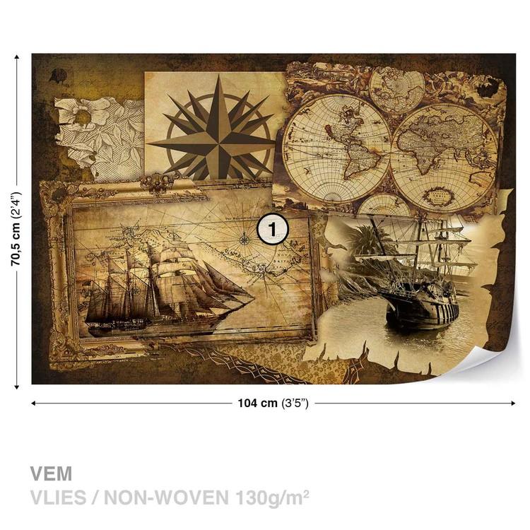 Vintage Ships and Maps Fotobehang