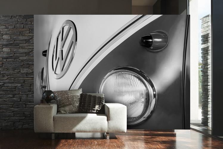 Volkswagen - Camper badge black & white Fotobehang