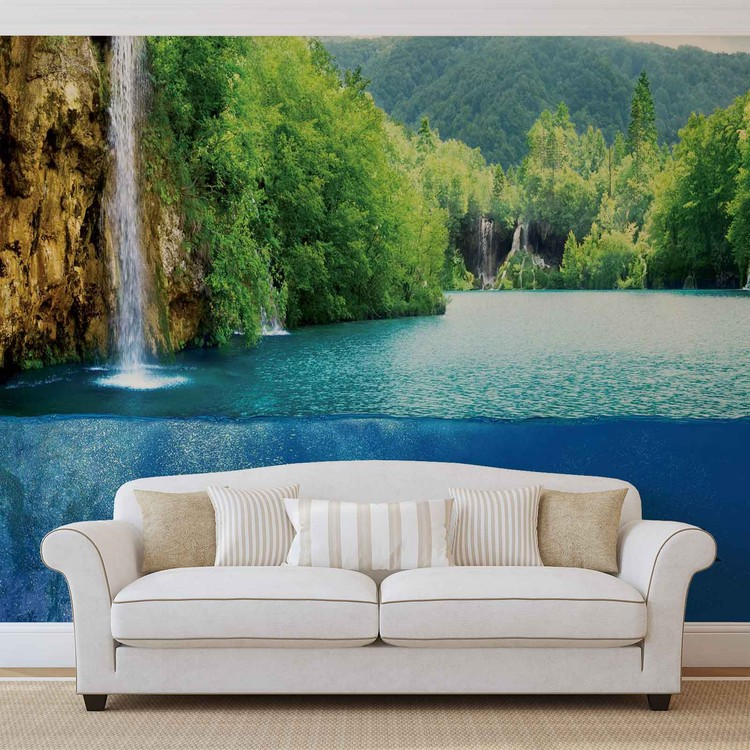 Waterfall Sea Nature Dolphins Fotobehang