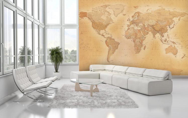 Wereldkaart -Old map Fotobehang