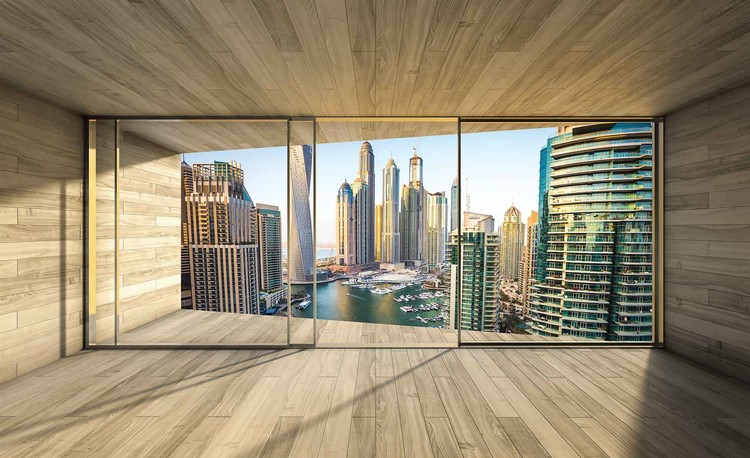 Window Dubai City Skyline Marina Fotobehang