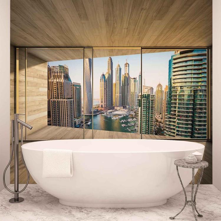 Window Dubai City Skyline Marina Fotobehang