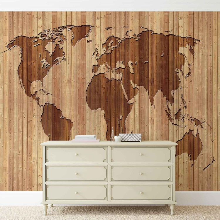 World Map Wood Fotobehang