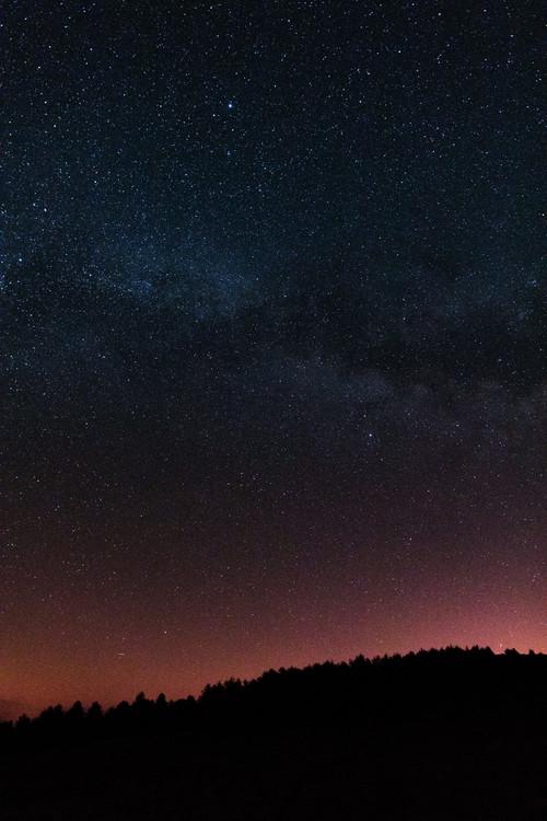 Fotografia artystyczna Night photos of the Milky Way with stars and trees.