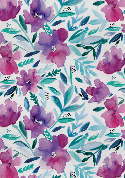 Fotografia artystyczna Loose pink floral watercolour repeat