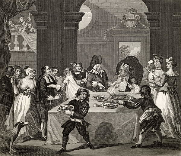 Reprodukcja  Sancho at the Feast Starved by his Physician, from 'The Works of Hogarth', published 1833