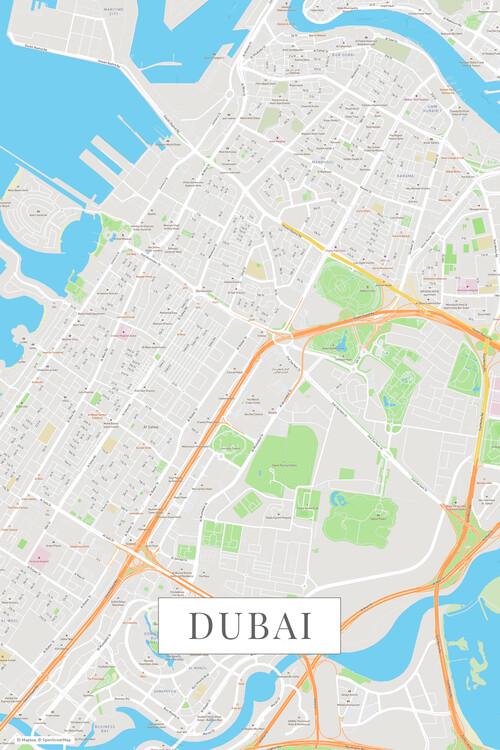 Cartina Geografica Di Dubai.Cartina Di Dubai Color ǀ Tutte Le Cartine Di Citta E Mappe Del Mondo Da Appendere