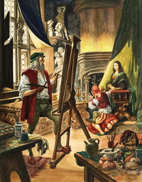 Leonardo da Vinci painting the portrait of the Mona Lisa - Stampe d'arte