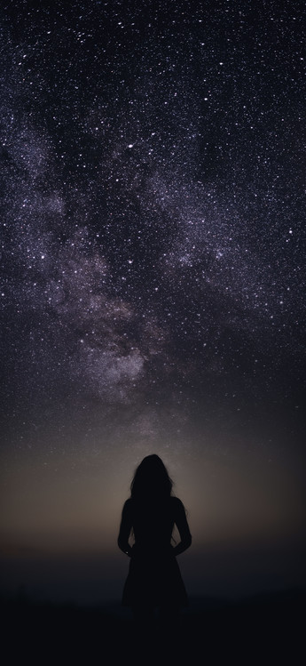 Fotografia d'arte silhouette of woman looking stars