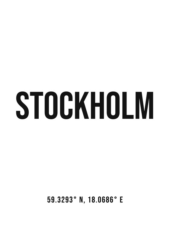 Fotografia d'arte Stockholm simple coordinates