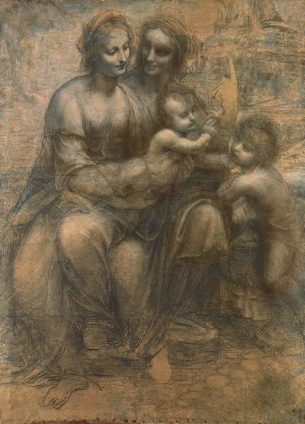 Stampa su Tela  The Virgin and Child with Saint Anne, and the Infant Saint John the Baptist, c.1499-1500